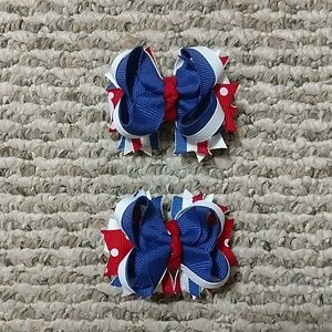 Other - 4th of July Pigtail Bows